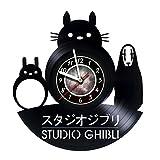 Iskra Shop Studio Ghibli - Handmade Vinyl Record Wall Clock - Kids room or Nursery wall decor - Gift ideas for kids, siblings, children - Animation Cartoon Unique Art Design