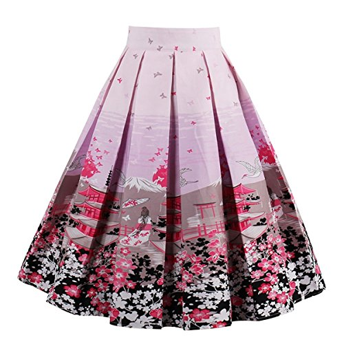 Dresstore Vintage Pleated Skirt Floral A-line Printed Midi Skirts with Pockets Sakura-Butterfly-M -