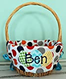Personalized Easter Basket Liner - Boy Multi Polka Dot - Personalized with Name