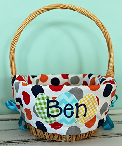 (Personalized Easter Basket Liner - Boy Multi Polka Dot - Personalized with Name)
