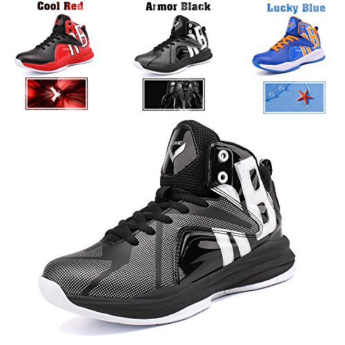 b562743f74175f WETIKE Boys Basketball Shoes Lace Up High Top Sneaker Outdoor Trainers For  Unisex Kids Durable Sport Shoes (Little Kid Big Kid) Armor Black