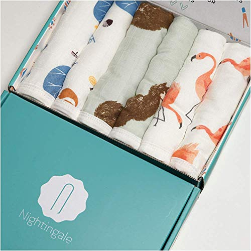 Bamboo Muslin Baby Washcloths | Organic Muslin Cotton Face Towels | Baby Wipes | Soft Bath Washcloths for Newborn with Sensitive Skin | Shower Gift for Baby Registry | 6 Pack | Extra Large