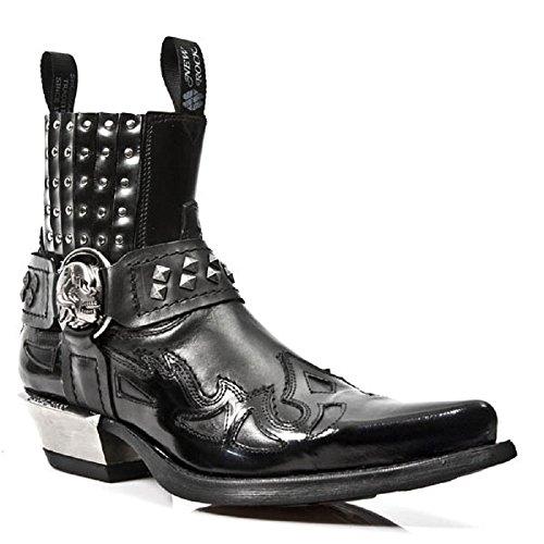 Schwarz Zucht Schädel Metall Gurt S1 7950 Rock M NewRock Stiefel Knöchel New Western Gote wXSqTT