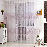 Norbi Fresh Floral Print Tulle Voile Door Window ROM Curtain Drape Panel Sheer
