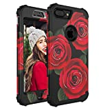 Cutebe 3 Layers Heavy Duty Shockproof Case Full Body Protective Cover for iPhone 7 Plus(2016)/iPhone 8 Plus(2017) Flower Design