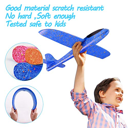 Refasy Foam Airplanes for Kids Children 18.9inch Gliders Airplane Toy Set Hand Throwing Challenging Model Foam Aircarft Two Flight Modes Best Outdoor Sport Flying Plane Toys for Kids Gift Blue by Refasy (Image #4)