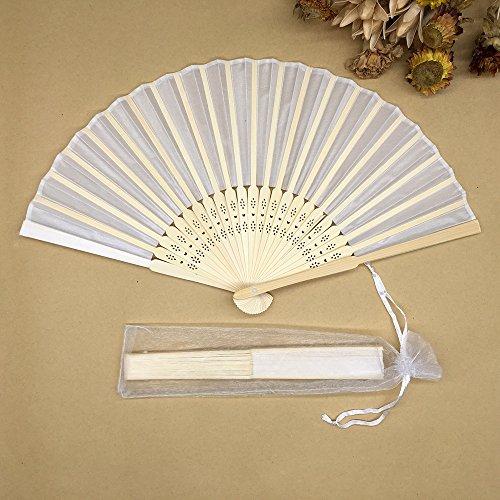 White 100Pcs/Lot Wedding Gift Bamboo Hand Fan With Gift Bag Silk Handmade Fan by Hand Fan