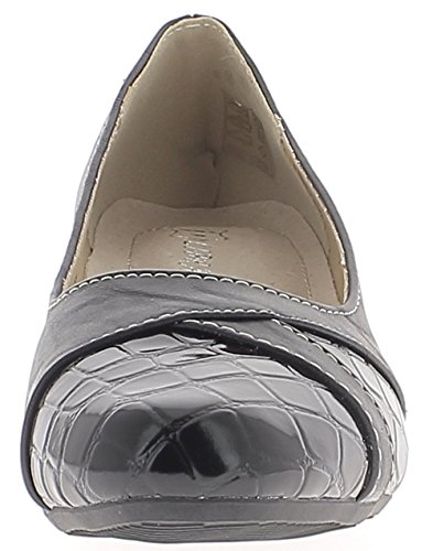 ChaussMoi Bombas de Mujer Negra Material Bi Cómodo de Tacón Pequeño 4,5 cm