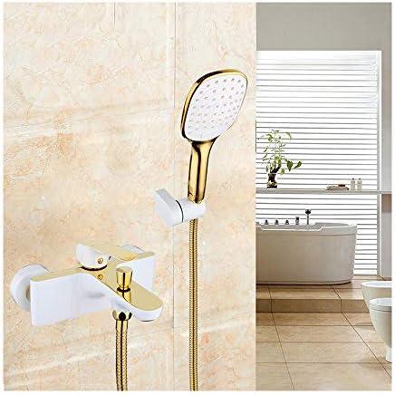 真鍮の浴槽の蛇口と冷たいお湯シングルハンドル浴室の浴槽の蛇口壁掛けバスシャワーミキサータップハンドヘルドシャワー付き