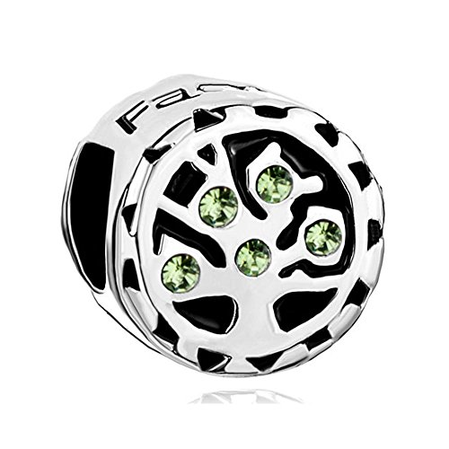 ShinyJewelry Family Tree of Life Charm Synthetic August Birthstone Bead for European Bracelet (August Boy Birthstone Charm)