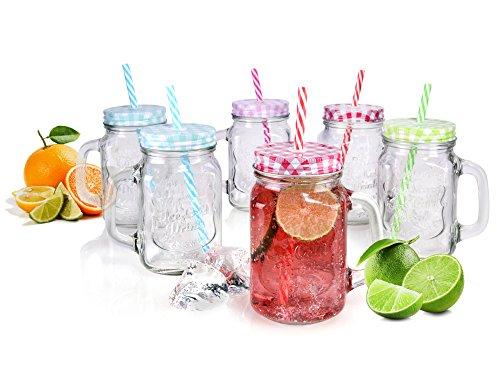 Bluespoon Gläser Set 6 Stück im Vintage-Design mit Strohhalm und Deckel | 450 ml | Trinkgläser in hübscher Retro-Optik | Ideal geeignet für Ihre nächste Gartenparty | Schützen Sie Ihre Getränke vor lästigen Insekten