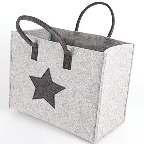 Fieltro la Größe Asa de cm Bolsa M Compra Fieltro Cesta tyle26 James la Compra Bolsa de nbsp;Bolso Star Bag Fashion 35x30x20 de nbsp;– Regalo de Caja Mujer Gris nbsp;Estrella 74cf1qcB