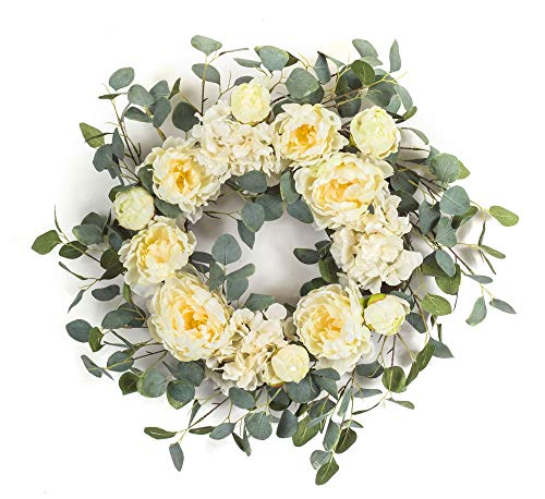 Diva At Home Green and White Peony/Hydrangea Wreath 24
