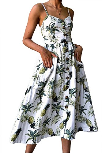 09e7eb0cb8 Topways Women s Dresses Summer Floral Bohemian Spaghetti Casual Dress with  Pockets (White A