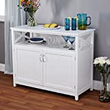 Contemporary Cottage Wooden Buffet in White Finish with Beadboard Doors and Side Panels with Open Shelf – Includes Modhaus Living Pen For Sale