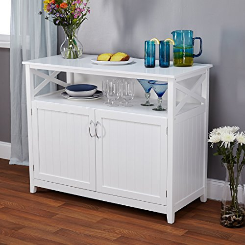 Contemporary Cottage Wooden Buffet in White Finish with Beadboard Doors and Side Panels with Open Shelf - Includes Modhaus Living Pen