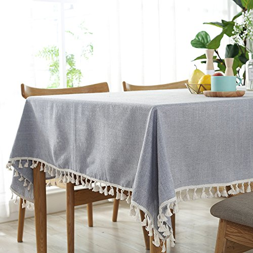 ColorBird Solid Color Tassel Tablecloth Cotton Linen Dust-Proof Table Cover for Kitchen Dinning Tabletop Decoration (Rectangle/Oblong, 55 x 120 Inch, Light Gray)