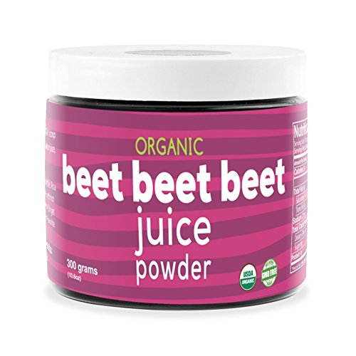 Beet Beet Beet- Organic Beet Juice Powder, 300 grams, 100% Pure USA Grown Beets, No Additives or Flavors, Cold Temperature Processed for Maximum Potency - Beet Juice Powder