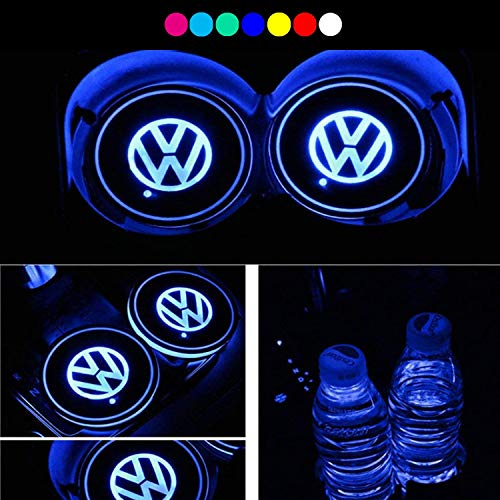 ATlife LED Car Logo Cup Holder Pad Waterproof Bottle Drinks Coaster Built-in Light 7 Colors Changing USB Charging Mat Auto LED Cup Mat Car Atmosphere Lamp 2PCS (for Volkswagen)