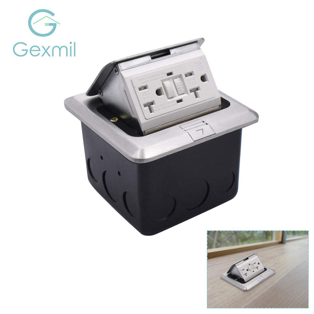 Pop-up Floor Outlet Box with Aluminium Cover, UL Listed Countertop Box with 20A 2AC Round GFCI Receptacle Outlet, Electrical Outlet with Junction Box, Damping Spring & Anti Electric Shock Plate JM027