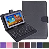 """HDE Diamond Stitch Hard Leather Folding Folio Case Cover with Micro USB Keyboard for 7"""" Tablet (Black)"""