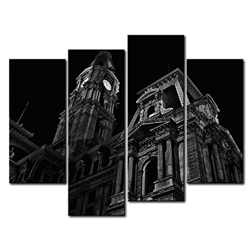 So Crazy Art Black & White 4 Panel Wall Art Painting Philadelphia City Hall With Clock Prints On Canvas The Picture City Pictures Oil For Home Modern Decoration Print Decor For Bathroom (Wall Clocks London Sale)