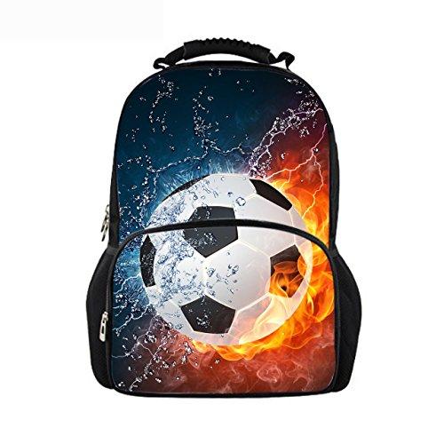 Youngerbaby 3D Soccer Print Casual Backpack Kids Bag for Boys School Bags Bookbag