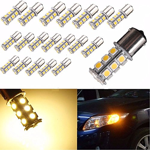 AUTOUS90 20 X 1156 1141 1003 BA15S 18 SMD RV Camper Warm White LED Light Bulbs Tail Backup