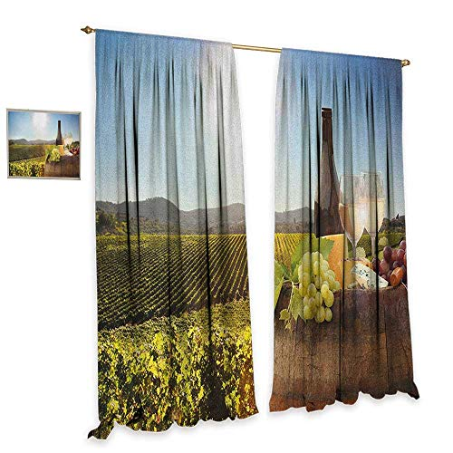 homefeel Wine Waterproof Window Curtain White Wine with Barrel on Famous Vineyard in Chianti Tuscany Agriculture Patterned Drape for Glass Door W120 x L108 Green Brown Pale -