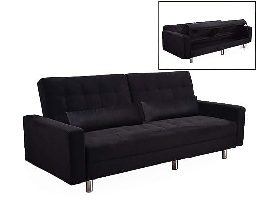 Sofá cama caja 190 x 81 cm tela negro 3 plazas reclinable ...