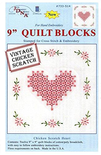 Jack Dempsey Stamped White Quilt Blocks, 9-Inch by 9-Inch, Chicken Scratch Hearts, 12-Pack (Chicken Scratch Patterns)