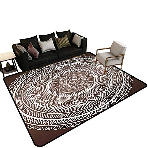 (Natural Fiber Area Rug Brown,Mandala Pattern and Ombre Detailed Round Flower Art with Ethnic Accents Print,Dark Brown White,for Living Room Bedrooms Kids Nursery Home Decor 6'x 9')