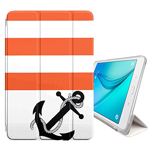 - FJCases Anchor Stripes Pattern (Orange) Smart Cover Stand + Back Case with Auto Sleep/Wake Function for Samsung Galaxy Tab S2-8.0
