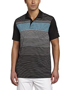 Puma Golf NA Men's Engineered Stripe Tech Polo Tee, Black/White, Small