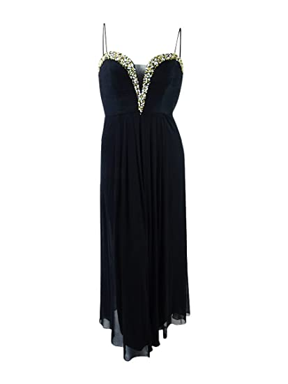 Betsy & Adam Womens Embellished Plus Ball Gown Dress Black 14W at ...