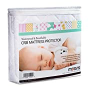Crib Mattress Protector - Comfortable, Breathable and Waterproof Bamboo Material. Keep your Crib Mattress Clean and Protected while Giving your Baby a Cozy Restful Sleep. Machine and Dryer Friendly.