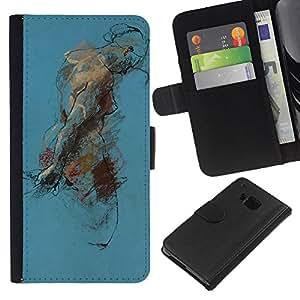 For HTC One M7 Case , Body Painting Watercolor Art - la tarjeta de Crédito Slots PU Funda de cuero Monedero caso cubierta de piel