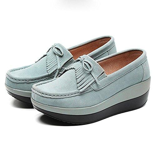 Cybling Womens Ökande Höjd Avslappnade Sneakers Komfort Plattform Rese Loafers Skor Ljusblå
