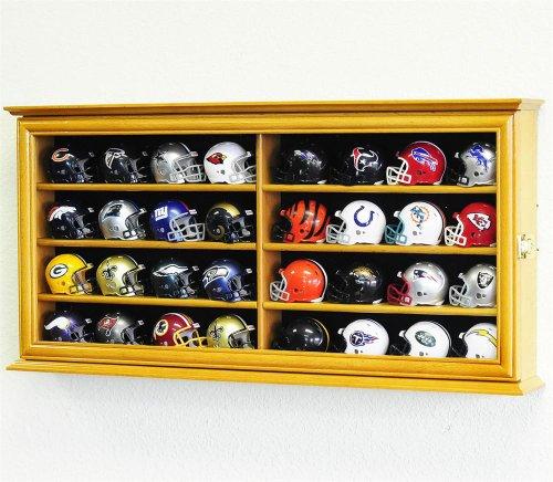 (32 Pocket Pro mini Helmet Display Case Cabinet Holders Rack w/ UV Protection, Oak)