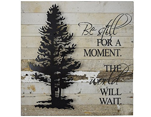 Modern Artisans American Made Reclaimed Wood with Metal Tree Wall Sculpture: The World Will Wait Quote, 20