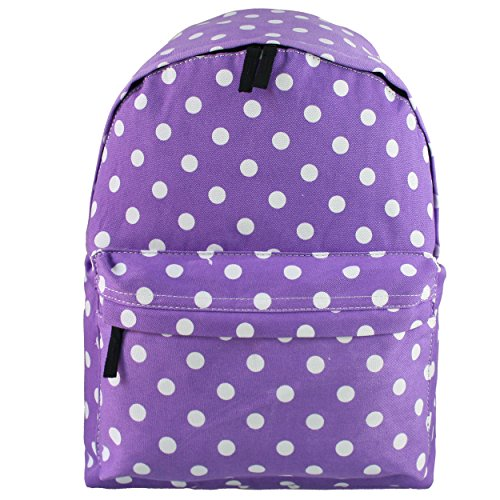 Miss Lulu Womens Girls Polka Dot Canvas BackpackTravel Camping School Bags Rucksack Purple