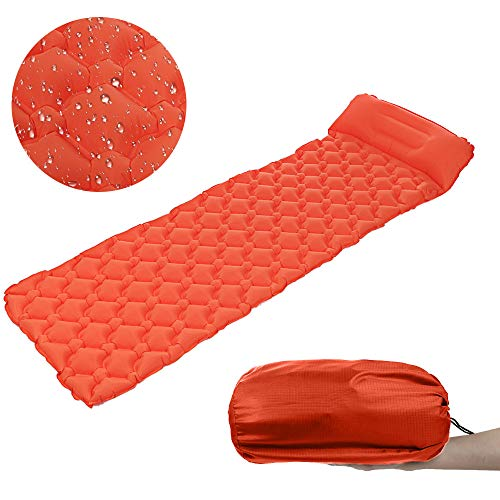 Fine Outdoors Camping Sleeping Pad, Ultralight Inflatable Camping Mat Pad for Backpacking & Hiking Durable Insulated Sleeping Mat, Compact Carrying Bag (Orange) ()