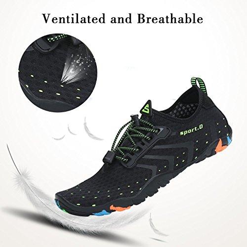 Mens Womens Water Shoes Quick Dry Barefoot for Swim Diving Surf Aqua Sports Pool Beach Walking Yoga Black 12.5 Women / 11 Men