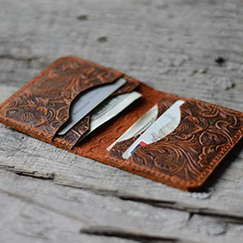 - Personalized Minimalist Bifold Wallet Men's Card Holder Distressed Leather Brown