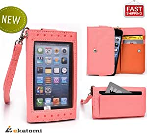 [Expose] Motorola DEFY+ Phone Case Wristlet Women's Wallet with Frosted Screen Protector - PINK / CORAL