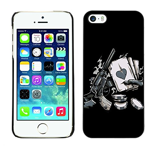 GIFT CHOICE / Mince Étui rigide Dur Housse de protection Slim Hard Protective Case SmartPhone Cover for iPhone 5 / 5S // Vintage Zombie Western Poker //