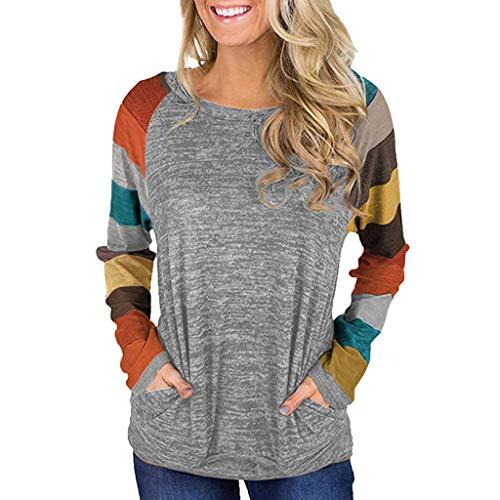 (Toimothcn Women's Long Sleeve Stripe Pullover Tops Casual Loose Tunic Shirt Blouse Plus Size(Orange,M))
