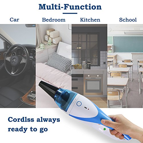 Mini Handheld Vacuum,1400PA Powerful Portable Cordless Vacuum Cleaner, Rechargeable Vacuum with 2 Nozzles for Pet Hair,Dirt,Crumbs etc by FORTUNE DRAGON (Image #2)