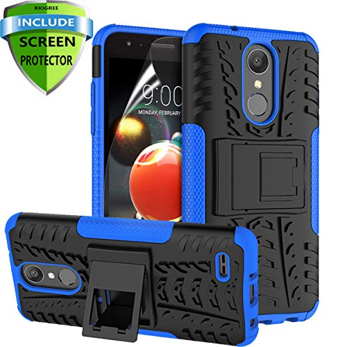 RioGree LG Aristo 2 Case, LG Aristo 3/Rebel 4 LTE/Aristo 2 Plus/Tribute Dynasty/Empire/Zone 4/Phoenix 4/Fortune 2/Risio 3/K8 Plus + 2018 Phone Case, with Screen Protector Kickstand Boys Girls, Blue (Phone Case For Lg 3)