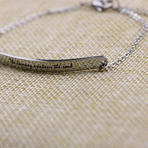 Travel Gifts for Her Motivational Bracelet Retirement Jewelry Silver Stainless Steel Chain ID Bangle for Her The Journey Awakens The Soul